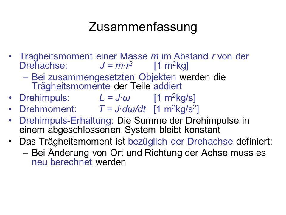 Zusammenfassung Trägheitsmoment einer Masse m im Abstand r von der Drehachse: J = m·r2 [1 m2kg]